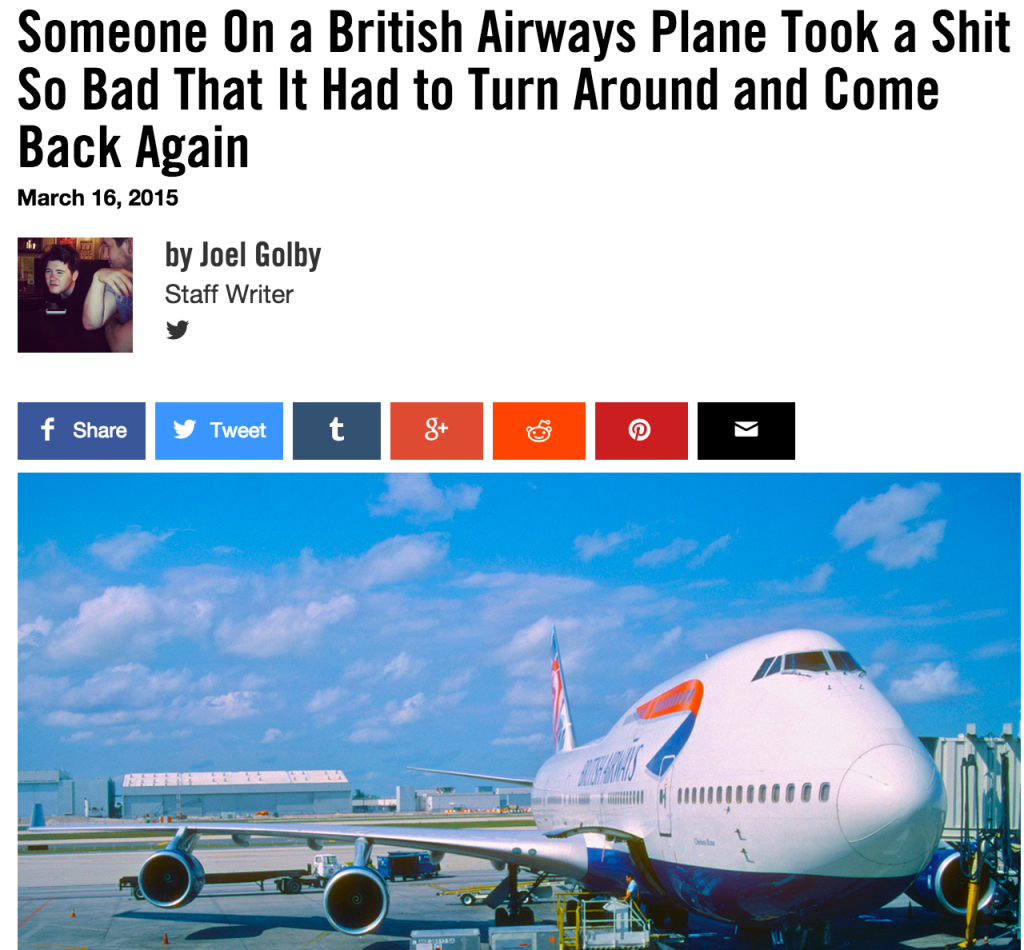 Someone On a British Airways Plane Took a Shit So Bad That It Had to Turn Around and Come Back Again